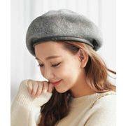 レザー ベレー帽 アンティーク調 単一色 ウール 秋冬 女性