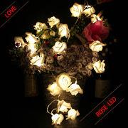 LED光るバラ ガーランド/ツリー飾りにも◎ 綺麗インテリア 花束 乾電池式 20球2.2m/ 4パターン