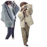 レディースアウター ニットカーディガン 長袖ケーブル編み 人気秋冬羽織モノ ボリュームドルマン
