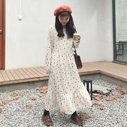 春 新しいデザイン 韓国風 シンプル 丸襟 ヘッジ ポルカドット シフォン 中長デザイン