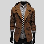 新しいデザイン 男  コート ファッション 着やせ 帽子付き 外 スタイル シンプル 単