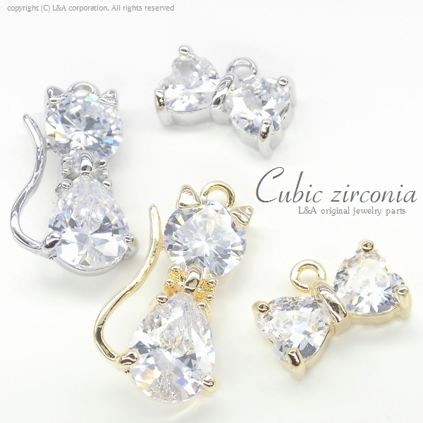 """★L&A original charm★Cubic zirconia★最高級鍍金★K16GP★リボン&ねこちゃん♪133 """"Cubic cat"""""""