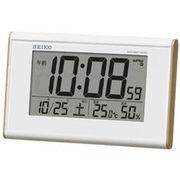 SEIKO セイコー 目覚まし時計 電波 デジタル カレンダー・温度・湿度 SQ771B
