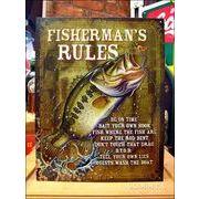 アメリカンブリキ看板 釣り人たちのルール