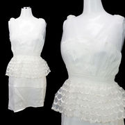 【即納】サテン×レース★ぺプラム型★ふんわりスカート★ミニドレス