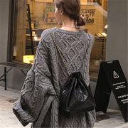 2018 秋 冬 韓国 スタイル ファッション レディース ゆったり 無地 ゆったり 長袖 ニット 編み織 セーター