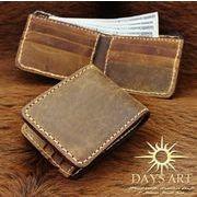 本革2つ折り財布 ヴィンテージオイルレザーウォレット ワックスコード手縫い 牛革 ハンドメイド 革財布