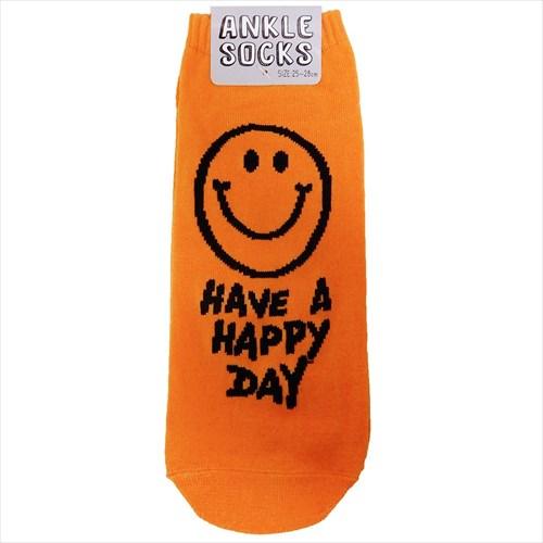 【靴下:メンズ】HAVE A HAPPY DAY メンズアンクルソックス/スマイル OR