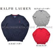 S) 【ポロ ラルフローレン】 323-702188  ワンポイント Vネックセーター 全3色 メンズ&レディース