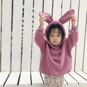 2018韓国ファッション 新作秋冬子供服フリース フード付きウサギセーター