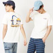 サーフ 系 刺繍 ポケット Tシャツ メンズ レディース 半袖 カットソー クルーネック アメカジ