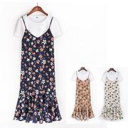 小花柄フリルシフォンキャミソールワンピース+白Tシャツ2点セット :全3色_19C081020