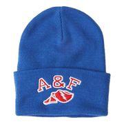 正規品 アバクロ ニット帽子 Abercrombie&Fitch Logo Turn Up Beanie (ブルー)