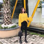 キャンディーカラー少女  韓国ファッション カレッジ風 ゆったり セーター オフショルダー トップ