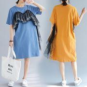 【春夏新作】ファッションワンピース♪オレンジ/ブルー2色展開◆
