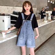 女 夏服 新しいデザイン 韓国風 ルース ポケット デニム クリンピング ビブ ネット