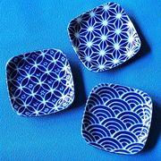 【瑠璃小紋】四角型3.5寸皿 [日本製 美濃焼]
