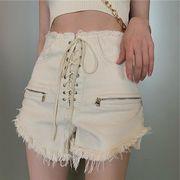 韓国ファッション可愛 レディーズ 合わせやすい ハイウェスト デニム ショートパンツジーンズ パンツ