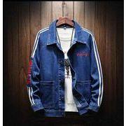 メンズデニム ジャケット コート 刺繍 大きいサイズ ライトブルー/ダークブルー2色