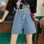 夏 新しいデザイン 韓国風 ルース バリ ハイウエスト 着やせ デニムショートパンツ フ