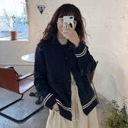 秋 新しいデザイン 韓国風 長袖ニット カーディガントップ 女子学生 ストライプス ラペ
