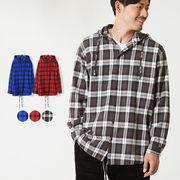 2019新作 メンズ ビッグシルエット ヘビーネル タータンチェック柄 長袖 フードシャツ