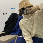 冬 新しいデザイン 韓国風 学生 何でも似合う ルース ソリッドカラーのセーター ハイネ