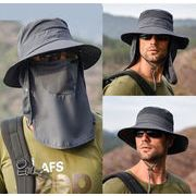 メンズ帽子 日よけハット 紫外線対策 レディース帽子 サファリハットフェイスカバー ネックカバー