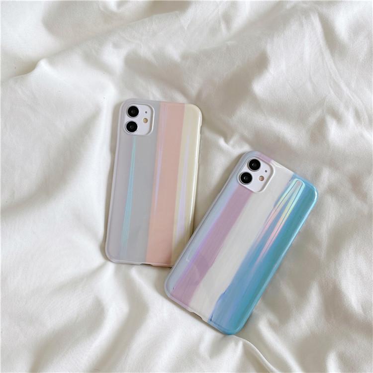 2020 F W 今年大人気! シンプル レインボー iphone 保護シェル 落下防止 個性 カップルウェア 高品質