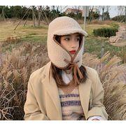 早い者勝ち子羊の毛 耳の保護 帽子 暖かくしてください レトロ 可愛い 気質 カラーマッチング 男女兼用