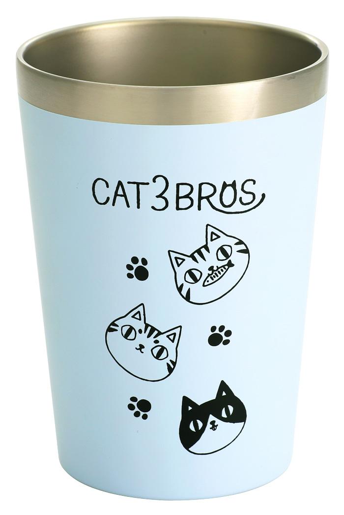 「にゃん屋」★となりの3兄弟 真空二重構造 コンビニ ステンレスタンブラー 480ml 顔 猫3兄弟