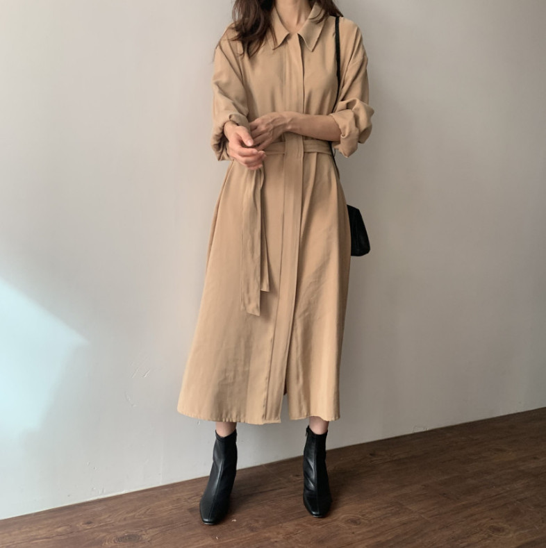ロングワンピース 新作 レディースファッション ゆったり 長袖 シャツ 韓国ファッション
