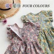 【KID】韓国風子供服  無地長袖シャツ 韓国ファッション ワンピース 花柄 可愛い 女の子