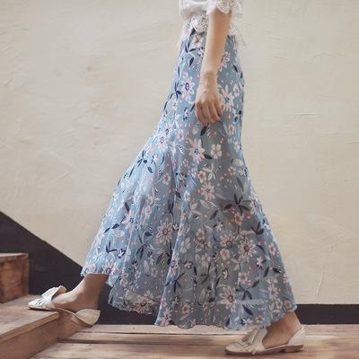 2021年夏新作 レディース 韓国風 スカート シフョン 花柄 OL 通勤 ファッション 4色S-M