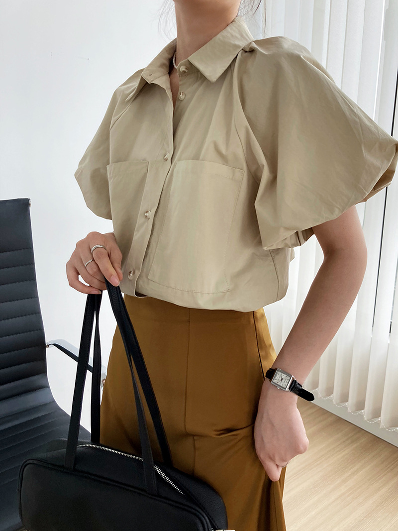 2021年春夏新作 レディース 韓国風 シャツ パフスリーブ 通勤 ファッション 2色M-L