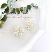 【国内即納】つぶつぶ パール カボション ビーズ 刺繍 フラワー 花 フォーマル 大振り 上品
