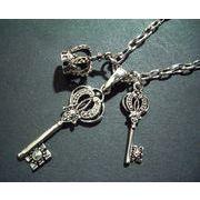 定番メンズネックレス・鍵+鍵小+王冠