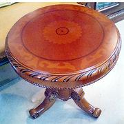 天然木ティーテーブル:象嵌入り