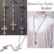 ロザリオネックレス・ゆりクロス石入り・十字架