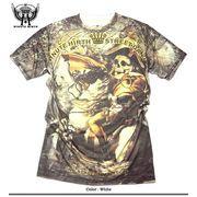 ★フルカラーインクジェット!★スカルナポレオン総柄プリントTシャツ!★