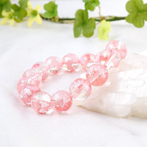 手彫り〈ピンク龍〉水晶(12mm)ブレスレット
