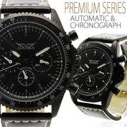 【全針稼動の本格仕様】★マットブラック自動巻きマルチファンクション腕時計【保証書付】