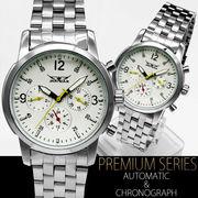 【全針稼動の本格仕様】★ミディアムフェイス自動巻きマルチファンクション腕時計【保証書付】