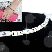 ステンレス ジュエリー   MIX カラー クリスタル デザイン ブレス レット