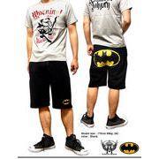 ★「バットマン」マークがクールでオシャレ!★アメコミヒーローバットマンロゴプリント裏毛ショートパンツ