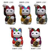 唐草 手描き 招き猫(右手) 高さ13.5cm 黄唐草・L2306