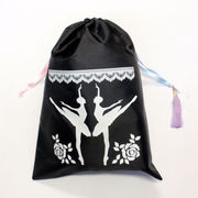 バレエシューズ袋/リボン巾着袋.黒Lサイズ/トーシューズバッグ.チュチュ衣装柄/発表会プレゼント