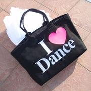 ダンスバッグ I LOVE DANCE黒/トートレッスンバック.バレエ衣装バッグ.デカダンス.大きいかばん