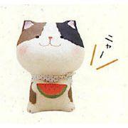【ご紹介します!和雑貨!ちぎり和紙シリーズ!安心の日本製です】幸せ多良福ねこ スイカねこ(ミニ)