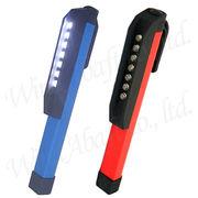 LED7灯ペン型ライト 回転式マグネットクリップ付 ポケットライト